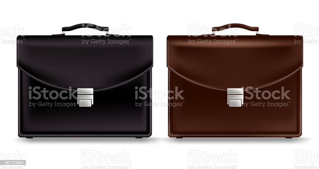 Set of Realistic Briefcase for Business Isolated vector art illustration