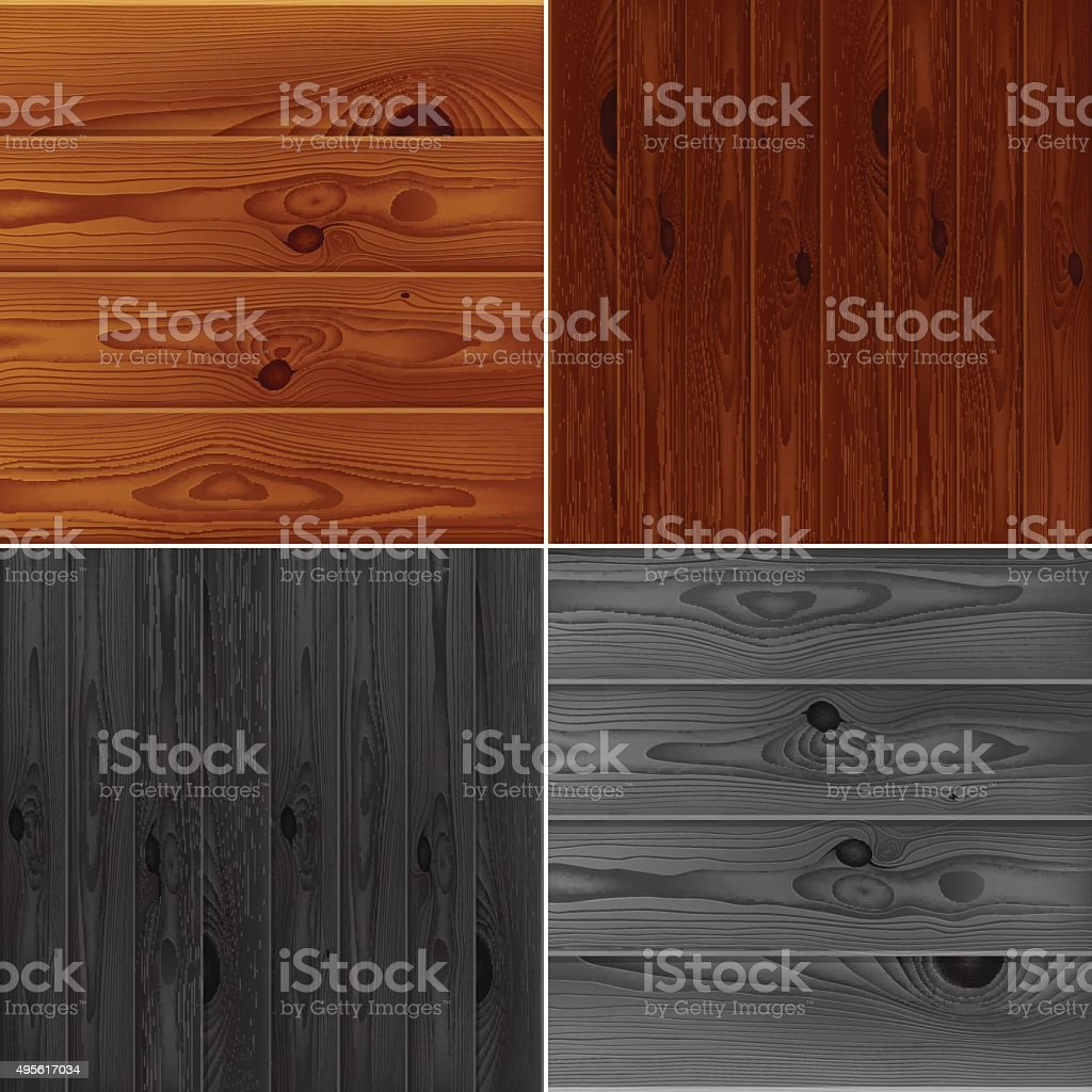 Set of realistic brown and grey wood boards textures vector art illustration