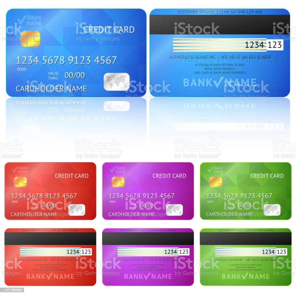 Set of realistic credit card two sides isolated vector art illustration
