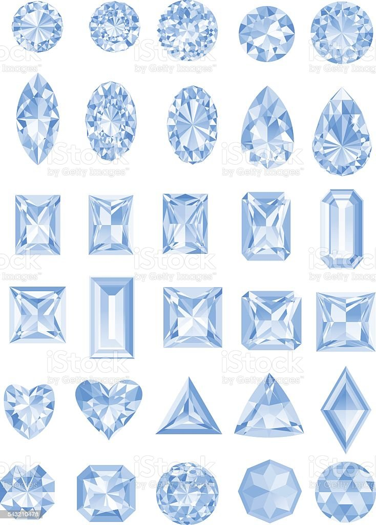 Set of realistic diamonds with different cuts vector art illustration