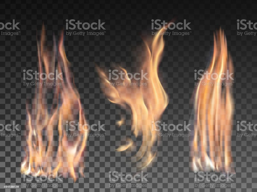 Set of realistic fire flames on transparent background vector art illustration