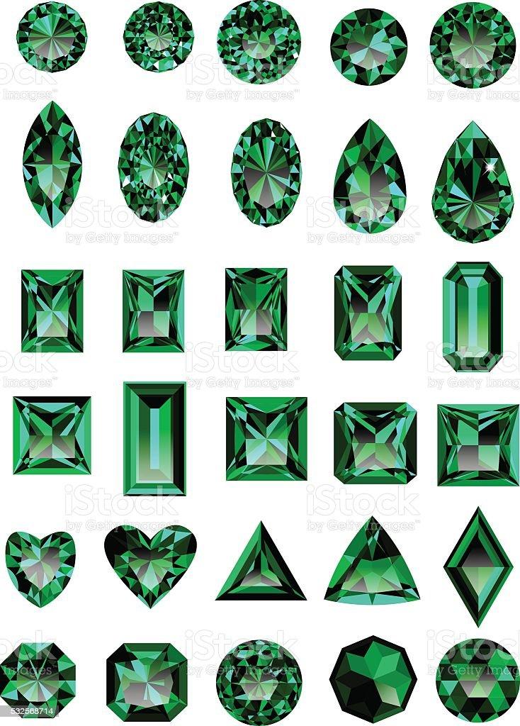 Set of realistic green emeralds vector art illustration