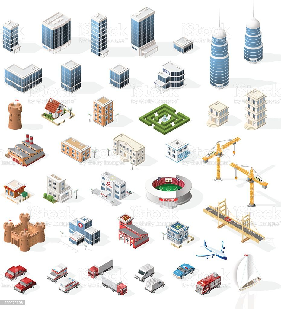 Set of Realistic Isometric High Quality City Element for Map. vector art illustration