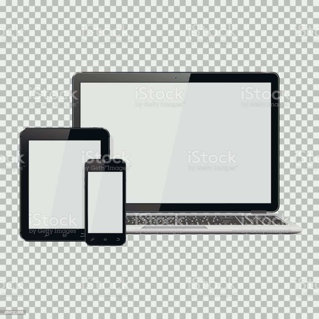 Set of realistic laptop, tablet and mobile phone with empty screen vector art illustration