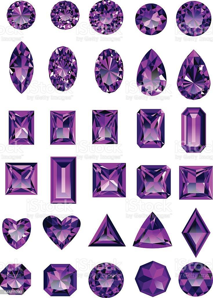 Set of realistic purple amethyst jewels vector art illustration