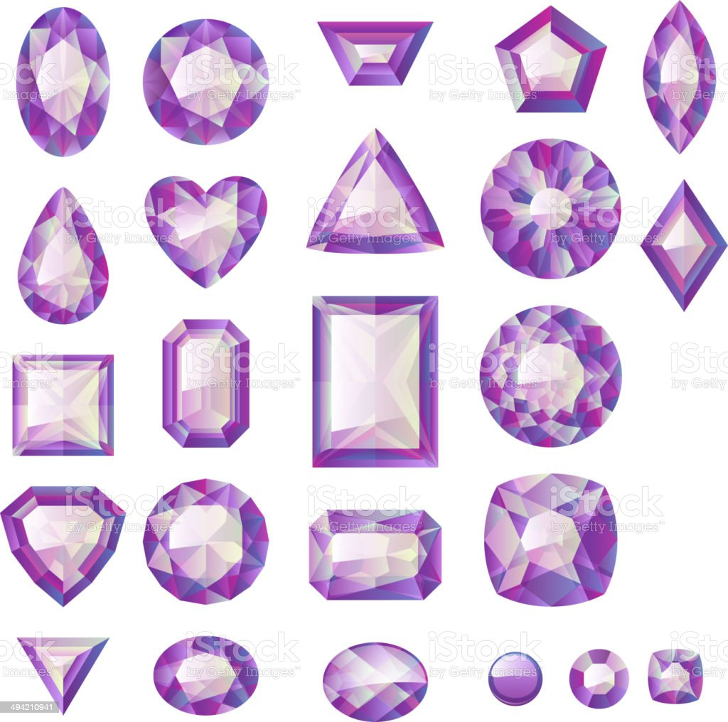 Set of realistic purple jewels. Colorful gemstones. royalty-free stock vector art