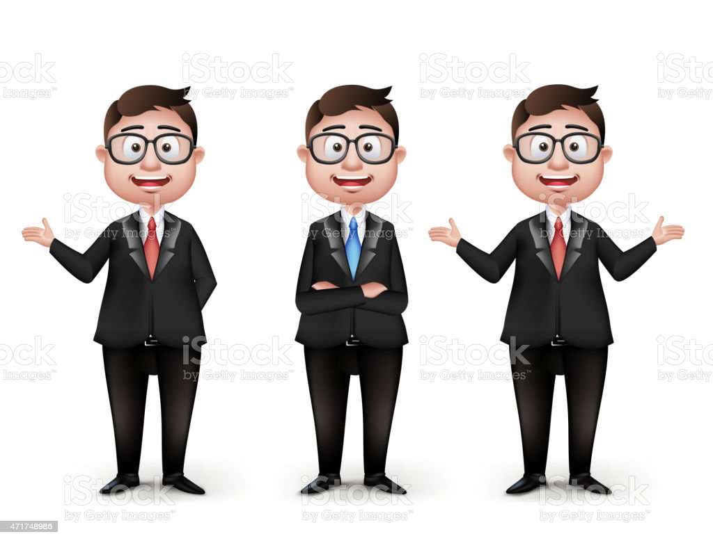 Set of Realistic Smart Different Professional and Business Man Characters vector art illustration