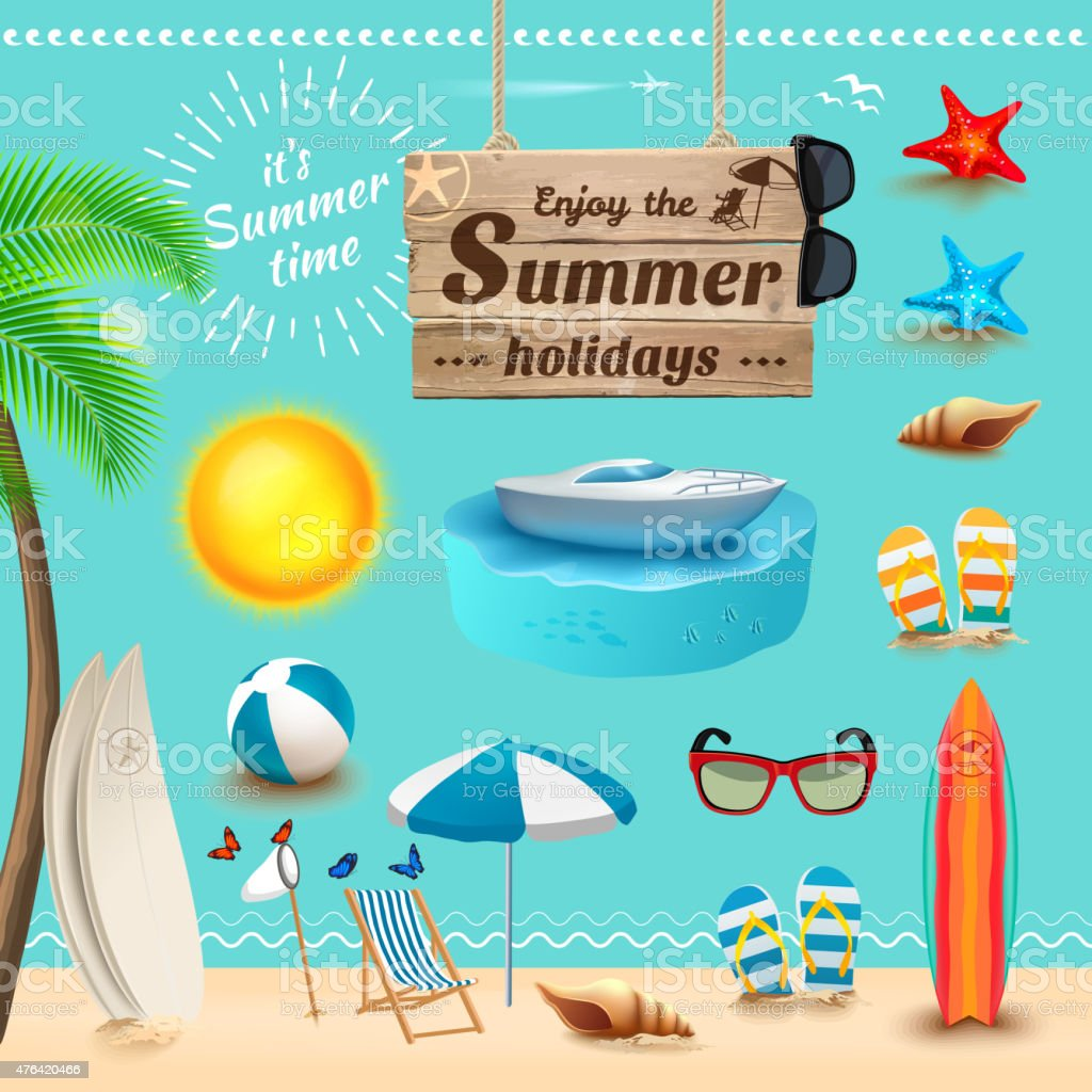 Set of realistic summer icons. Vector illustration vector art illustration