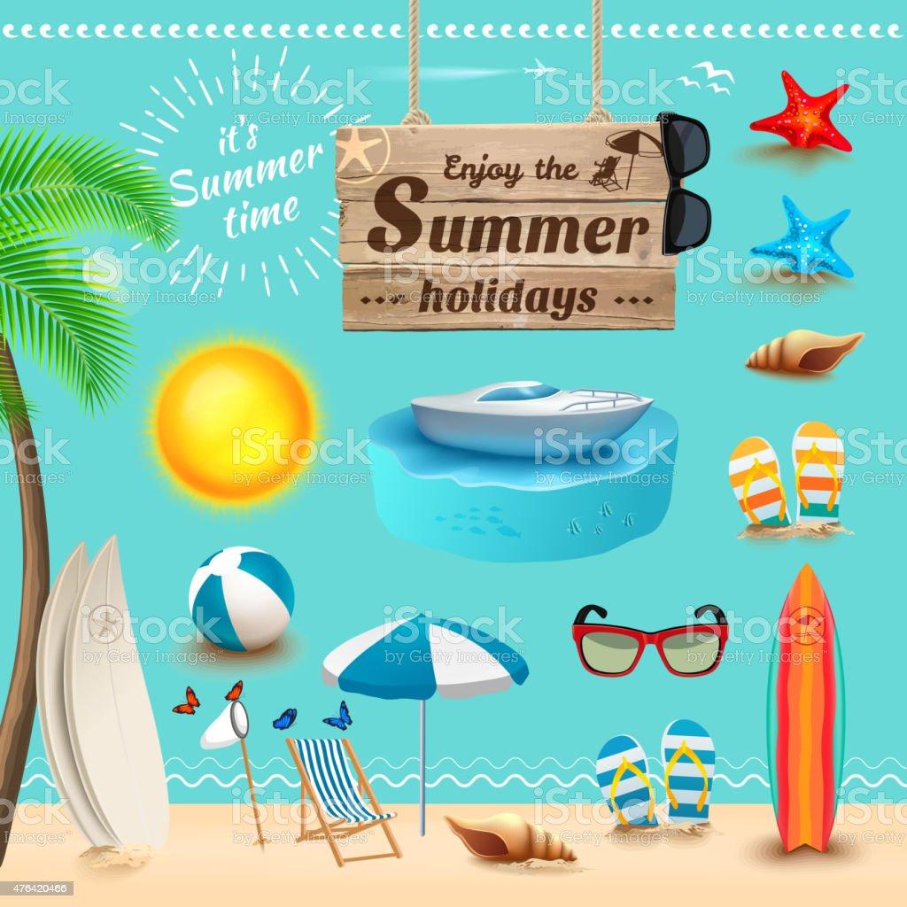 Set of realistic summer icons. Vector illustration vector art illustration