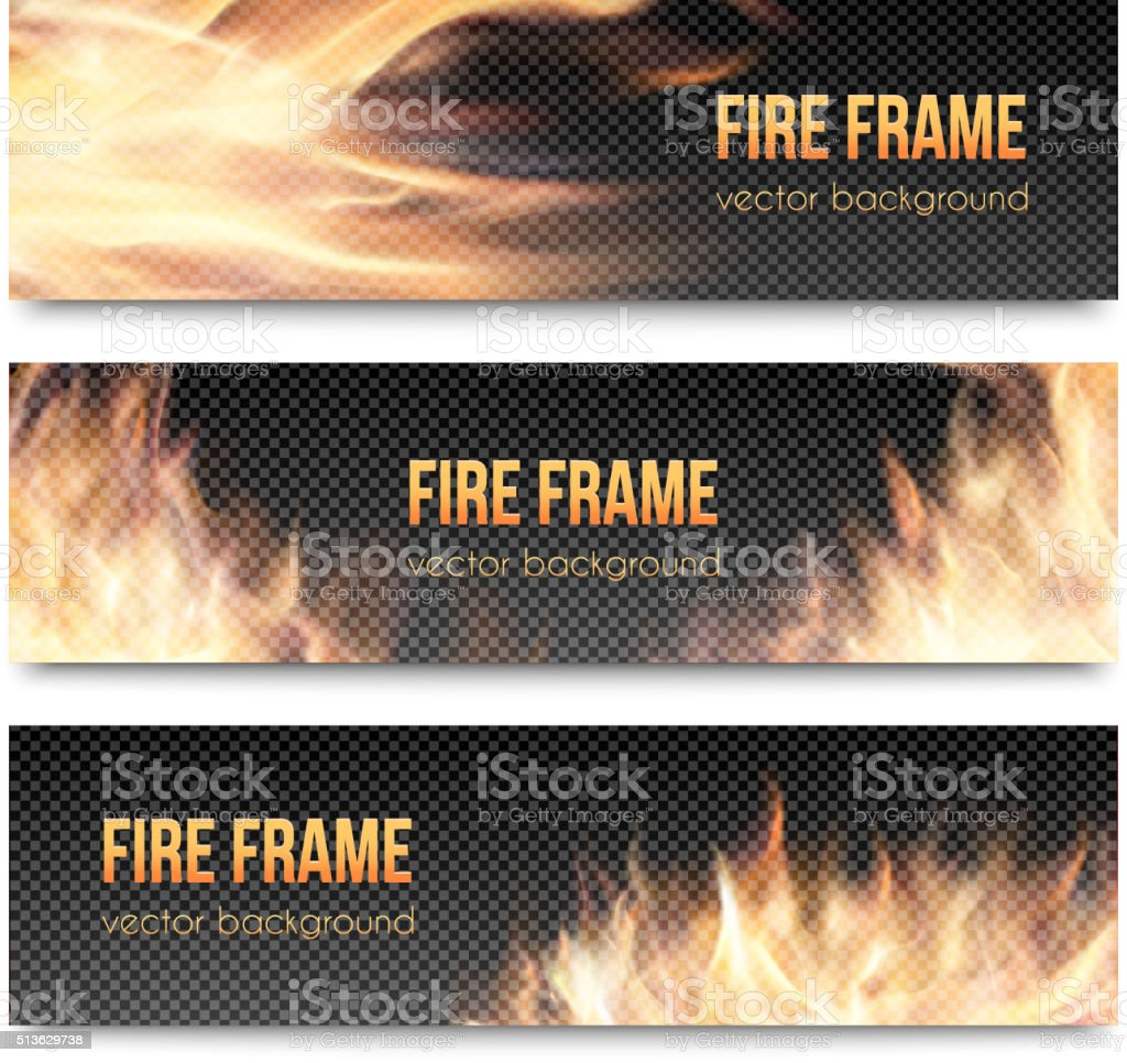 Set of realistic transparent fire flame banners vector art illustration