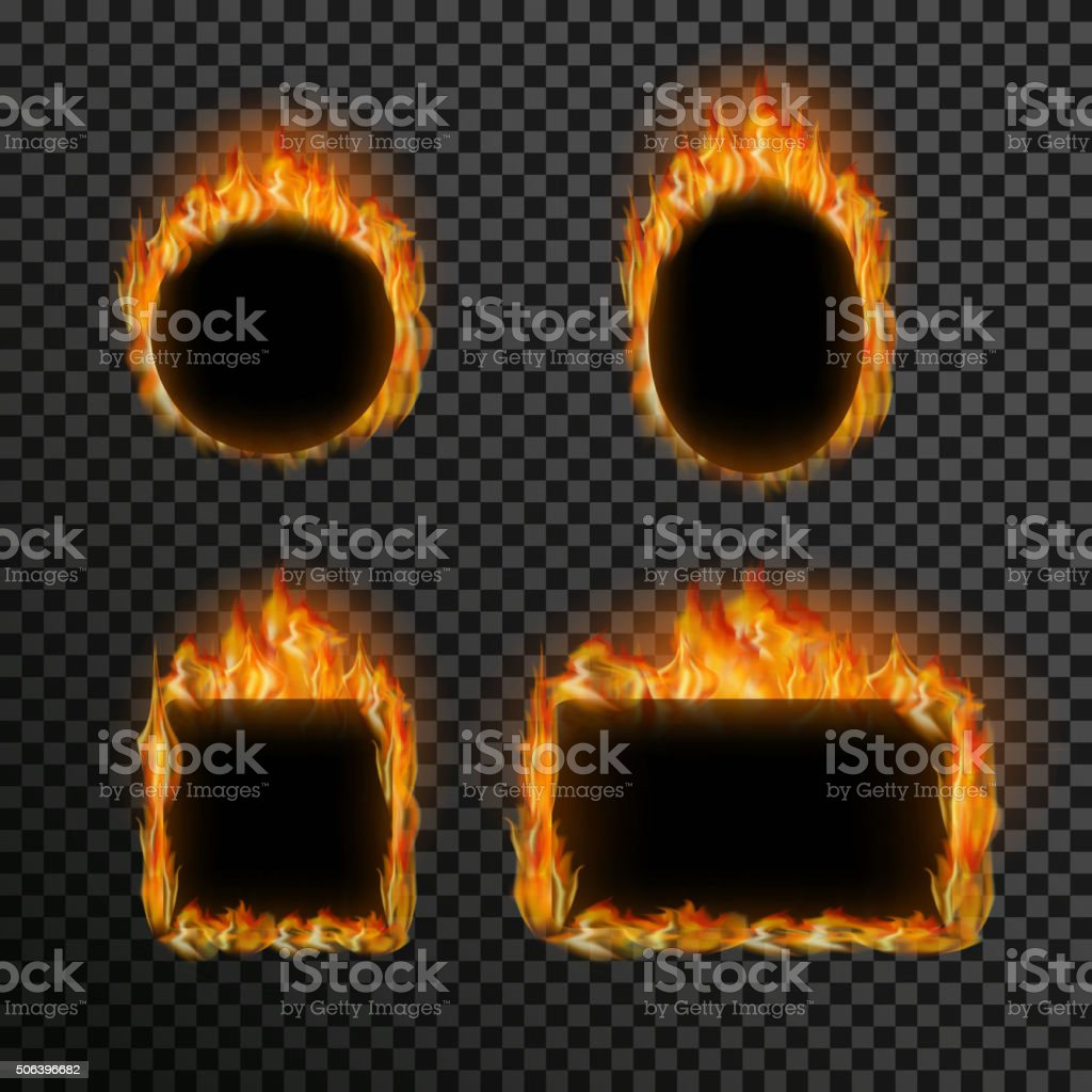 Set of realistic transparent fire flames on a plaid black vector art illustration