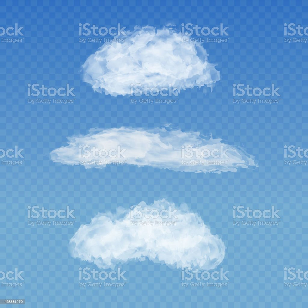 Set of realistic transparent white clouds on a plaid blue vector art illustration