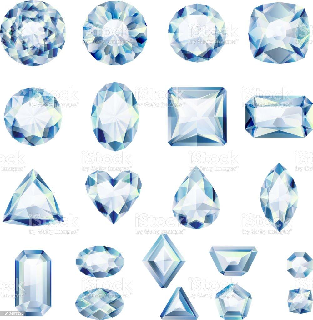 Set of realistic white jewels. Diamonds isolated vector art illustration