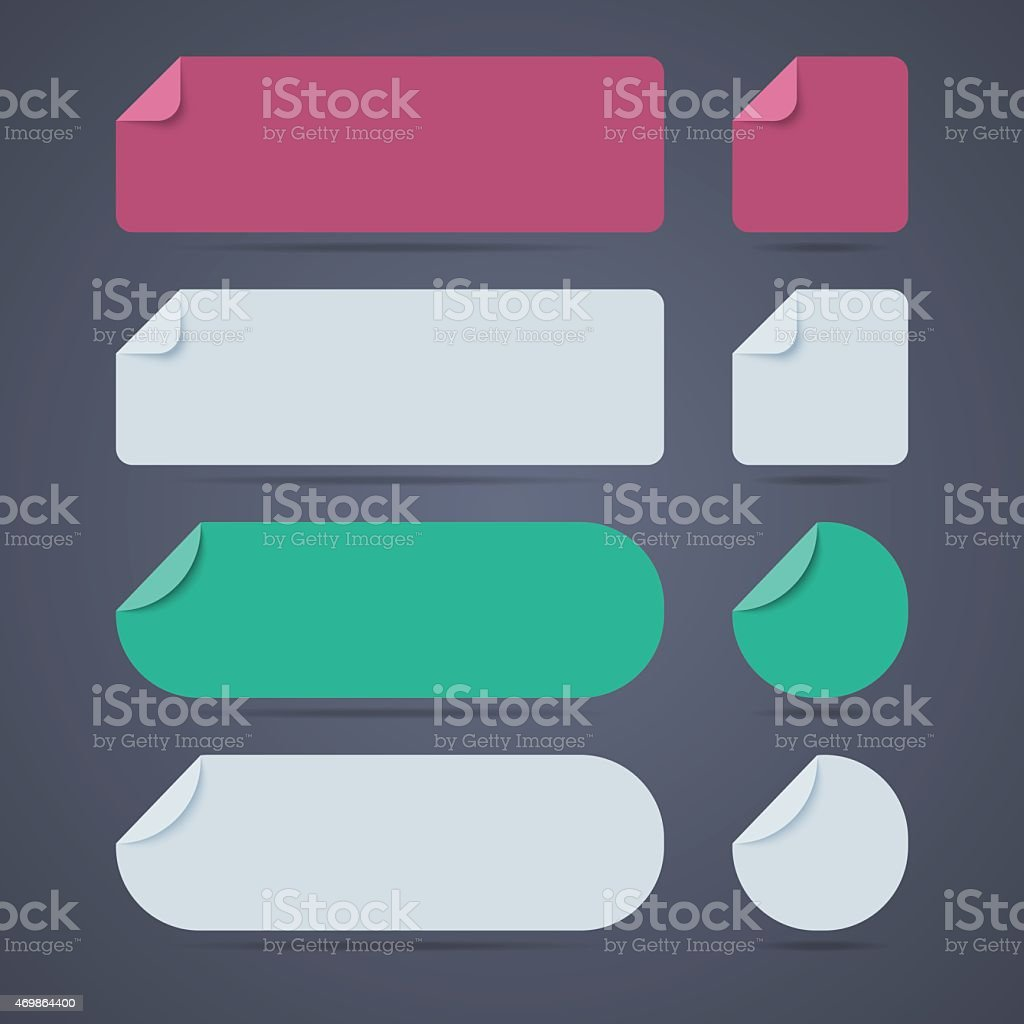 Set of rectangle and round blank paper stickers vector art illustration