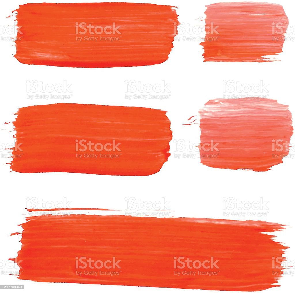 Set of red acrylic brush vector strokes vector art illustration