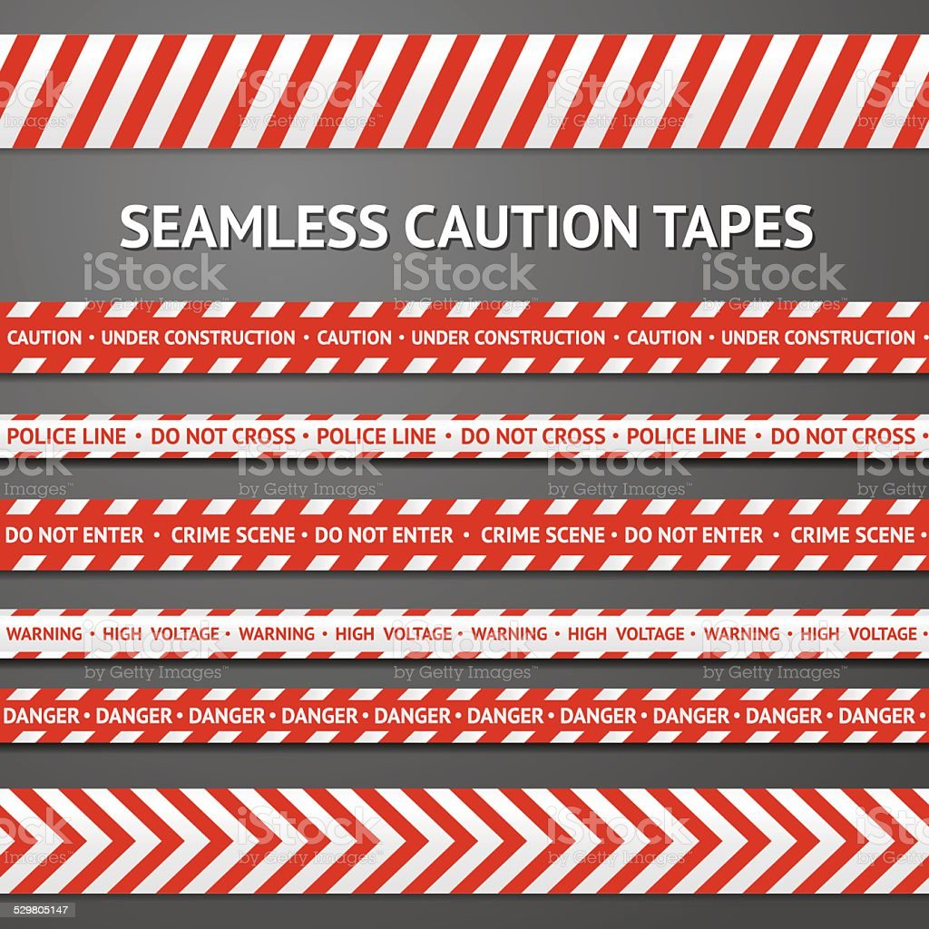 Set of red and white seamless caution tapes with different vector art illustration
