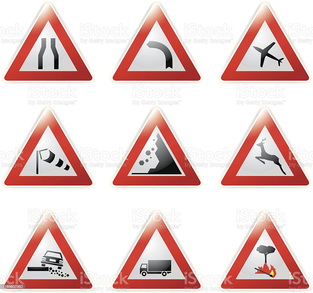 Set of red bordered triangle road sign icons royalty-free stock vector art