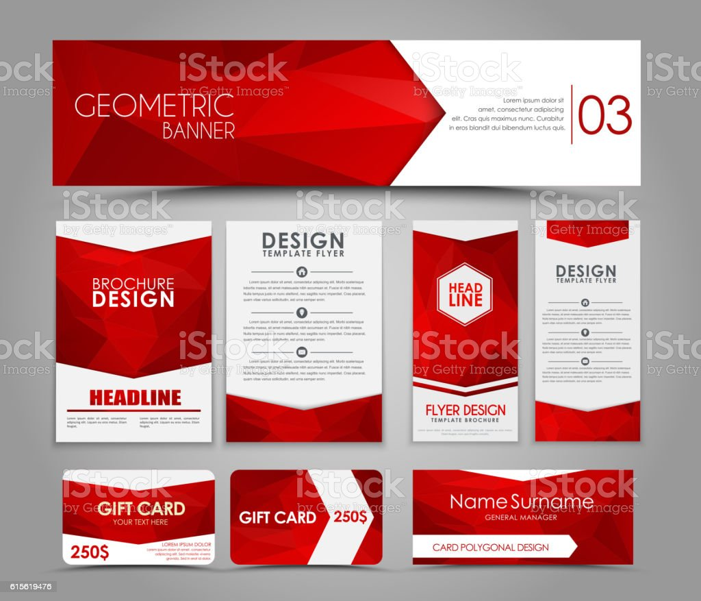 Set of red corporate style polygonal vector art illustration