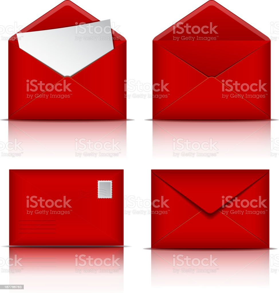 Set of Red envelopes. royalty-free stock vector art