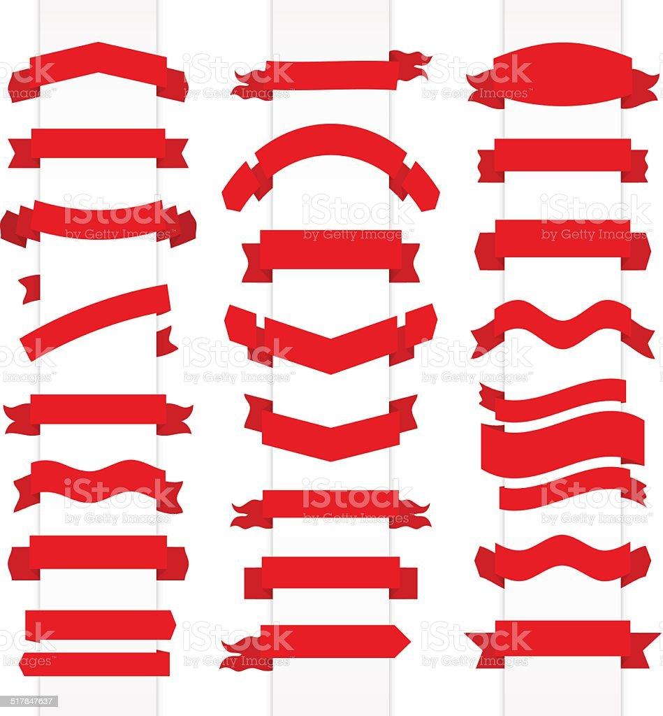 Set of red flat ribbons. Vector illustration vector art illustration