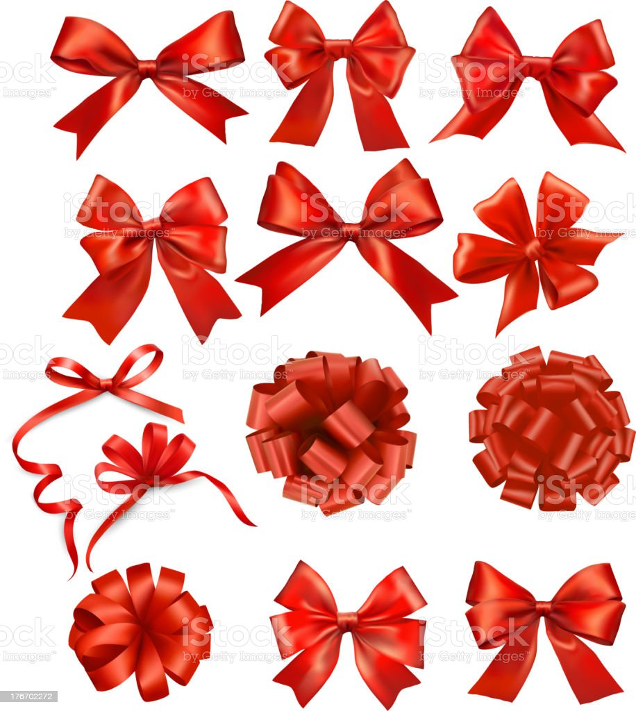 Set of red gift bows with ribbons. vector art illustration