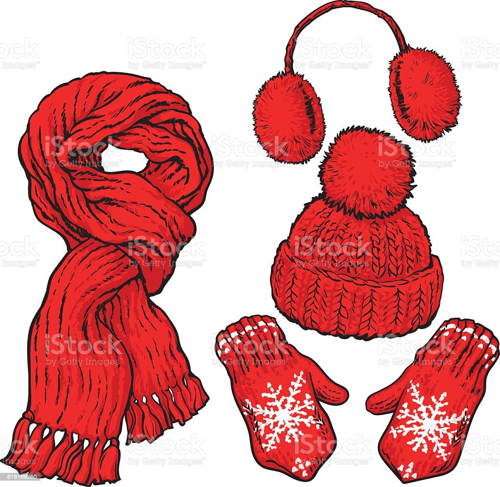 Set of red knotted scarf, hat, ear muffs and mittens vector art illustration