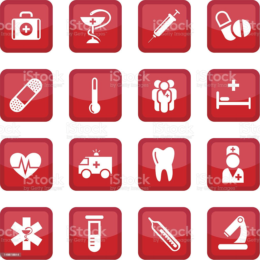 Set of red medical icons royalty-free stock vector art