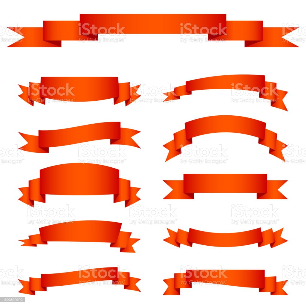 Set of red ribbon banners vector art illustration