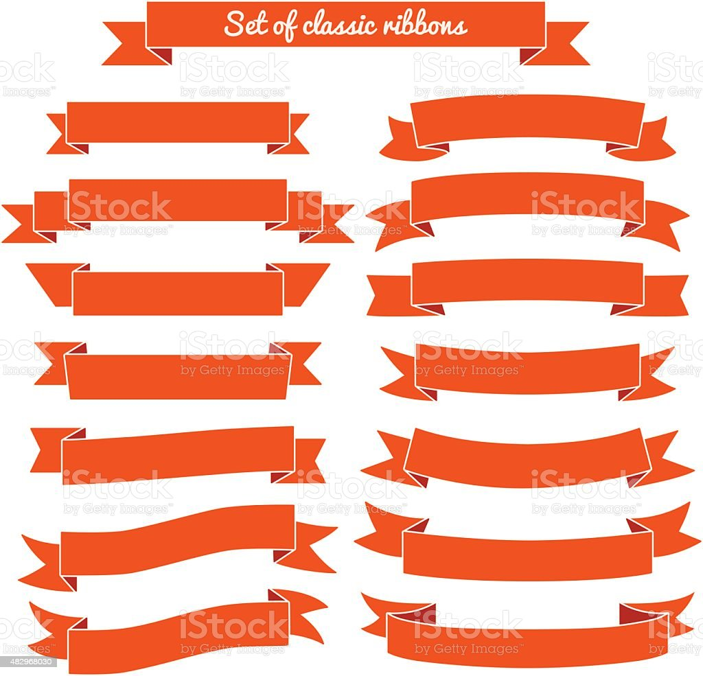 Set of red ribbon banners. Vector illustration vector art illustration