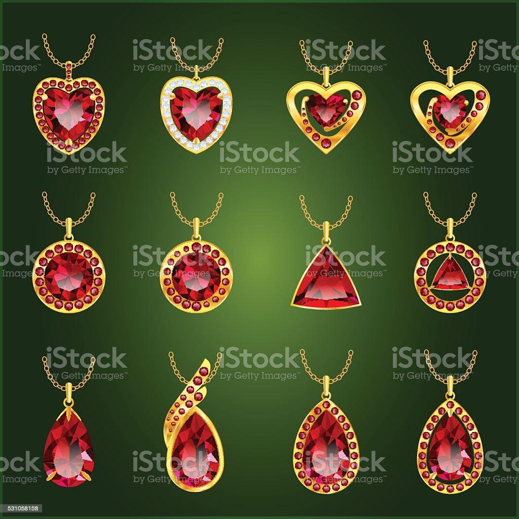 Set of red rubies pendants vector art illustration