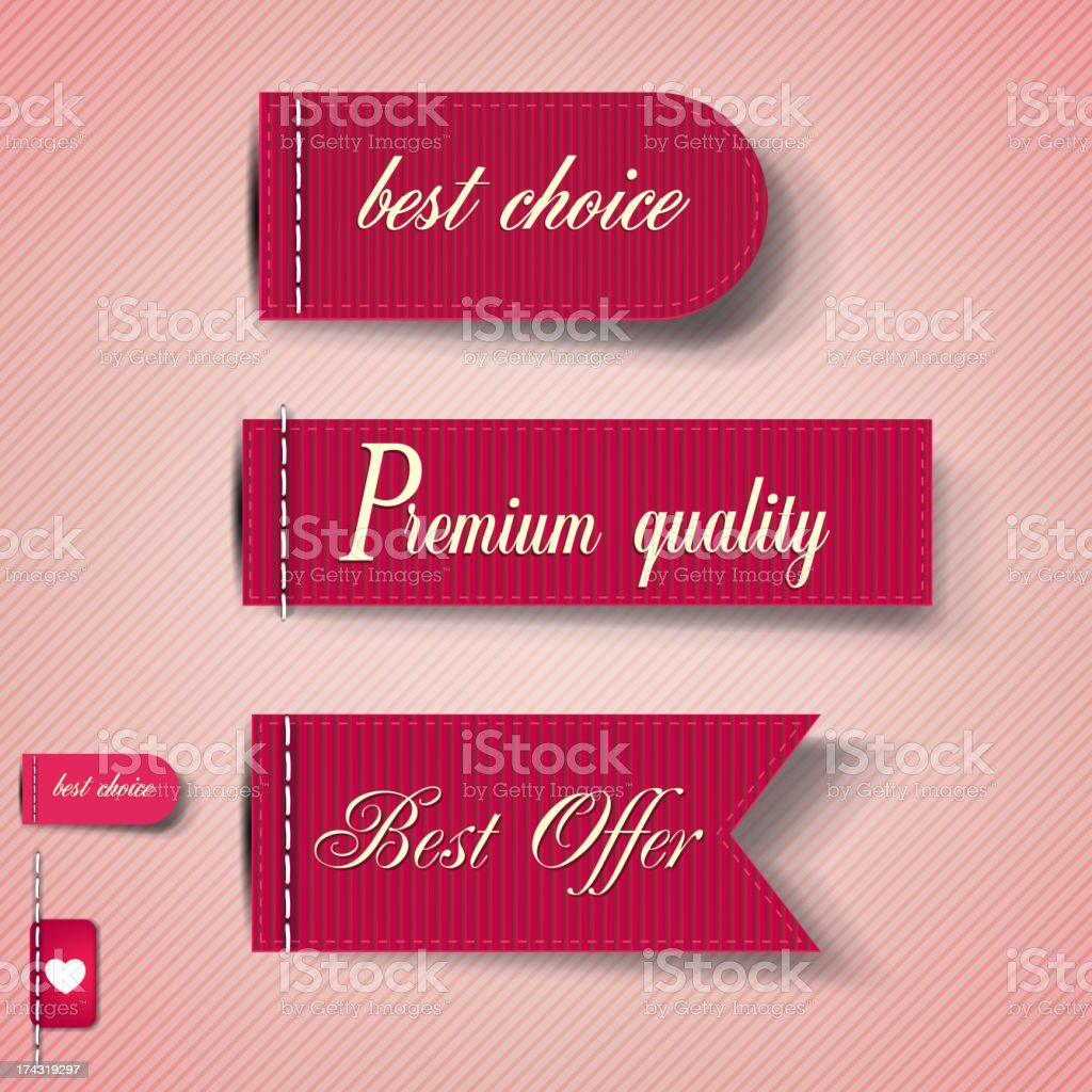 Set of Red Superior Quality and Satisfaction Guarantee Ribbons royalty-free stock vector art