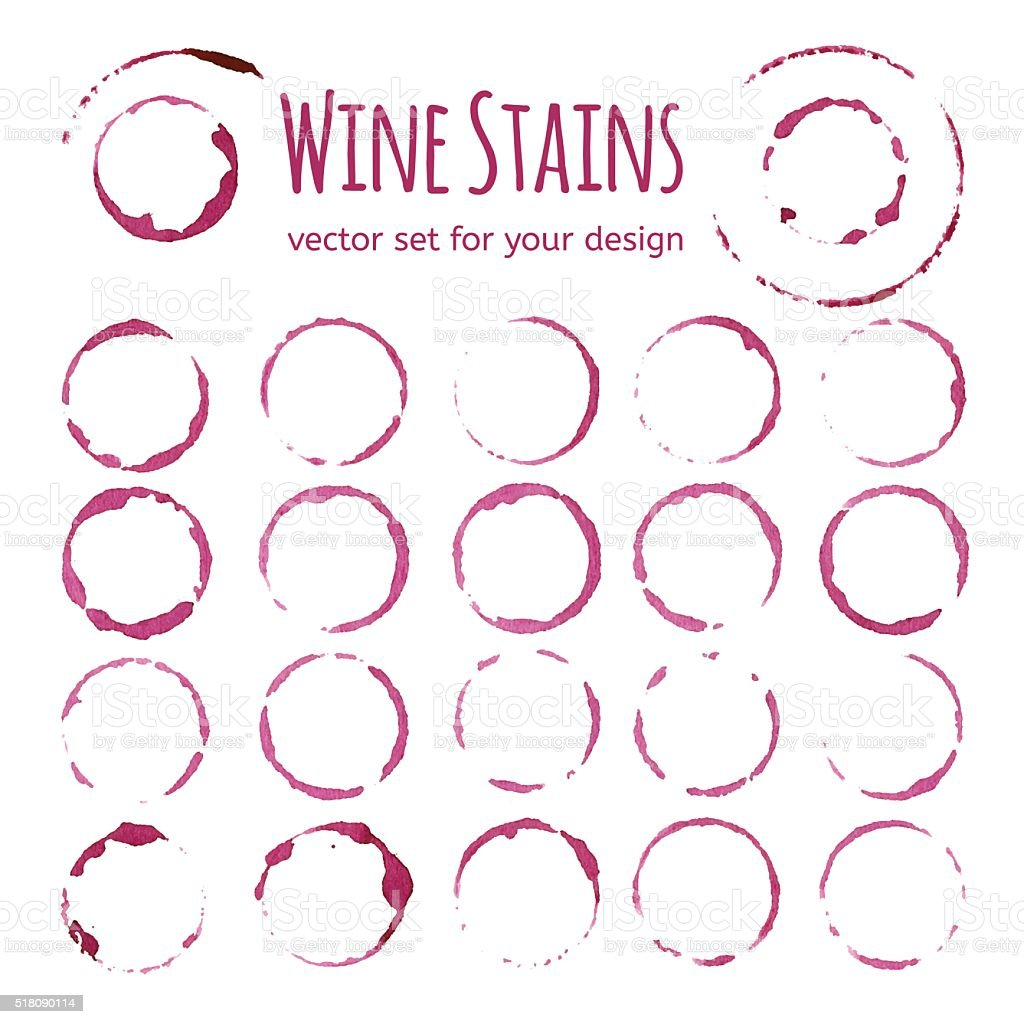 Set of red wine stains vector art illustration