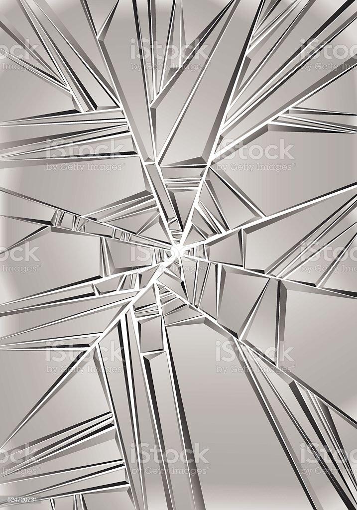 Set of reflective glass pieces, broken mirror. vector art illustration