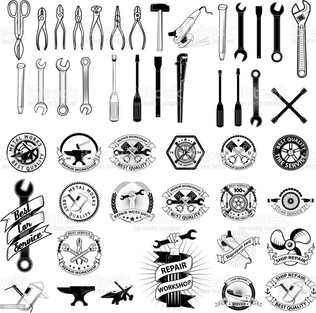 Set of repair, service workshop labels and design elements. vector art illustration