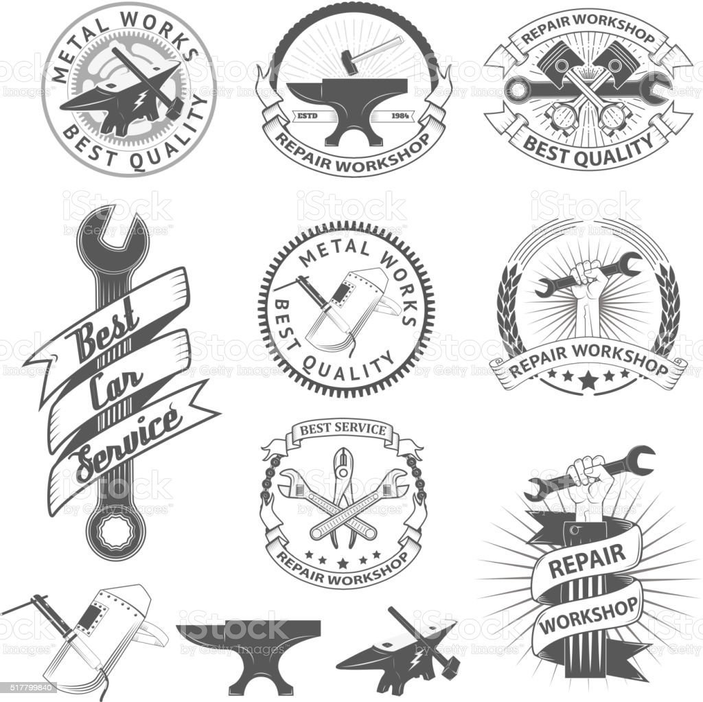 Set of repair, workshop labels and emblems. vector art illustration