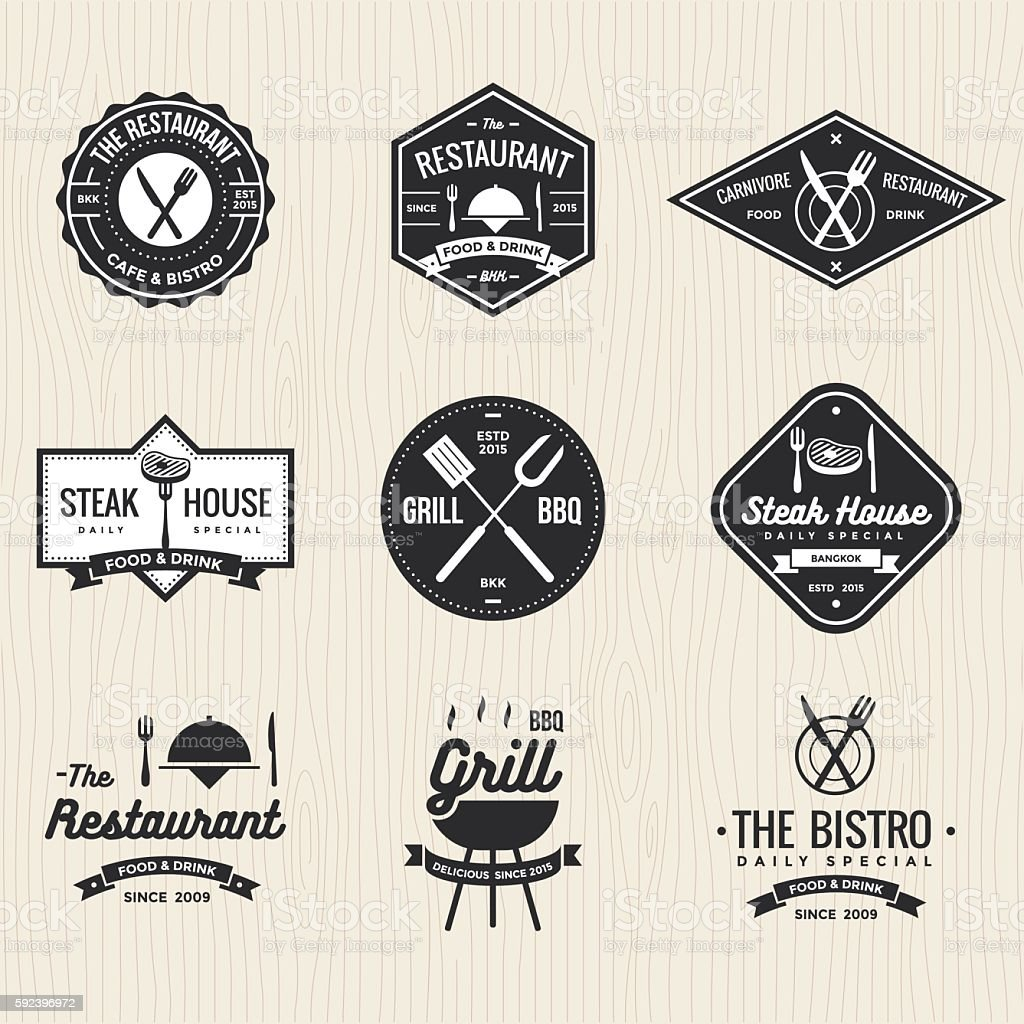 Set of restaurant, foods shop, steak house, grill barbecue vector art illustration