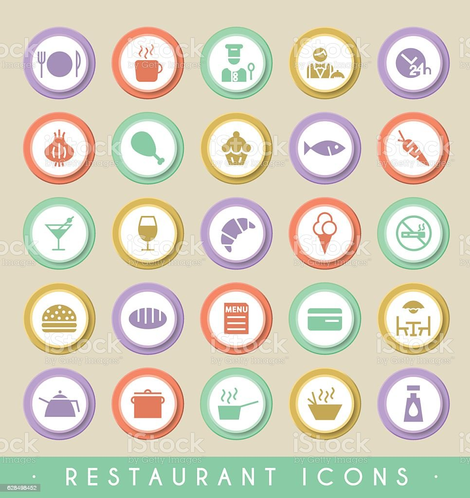 Set of Restaurant Icons on Circular Colored Buttons. vector art illustration