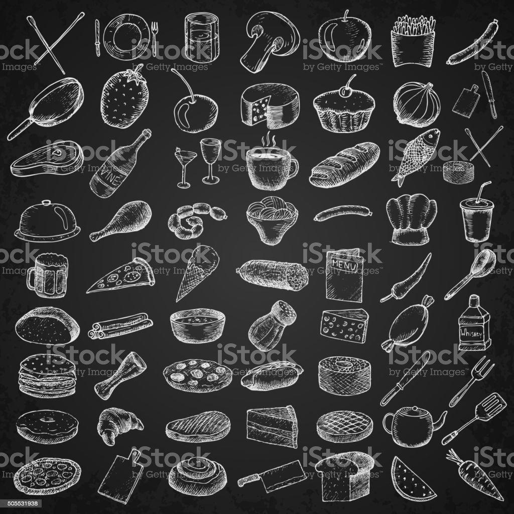 Set of restaurant icons. vector art illustration