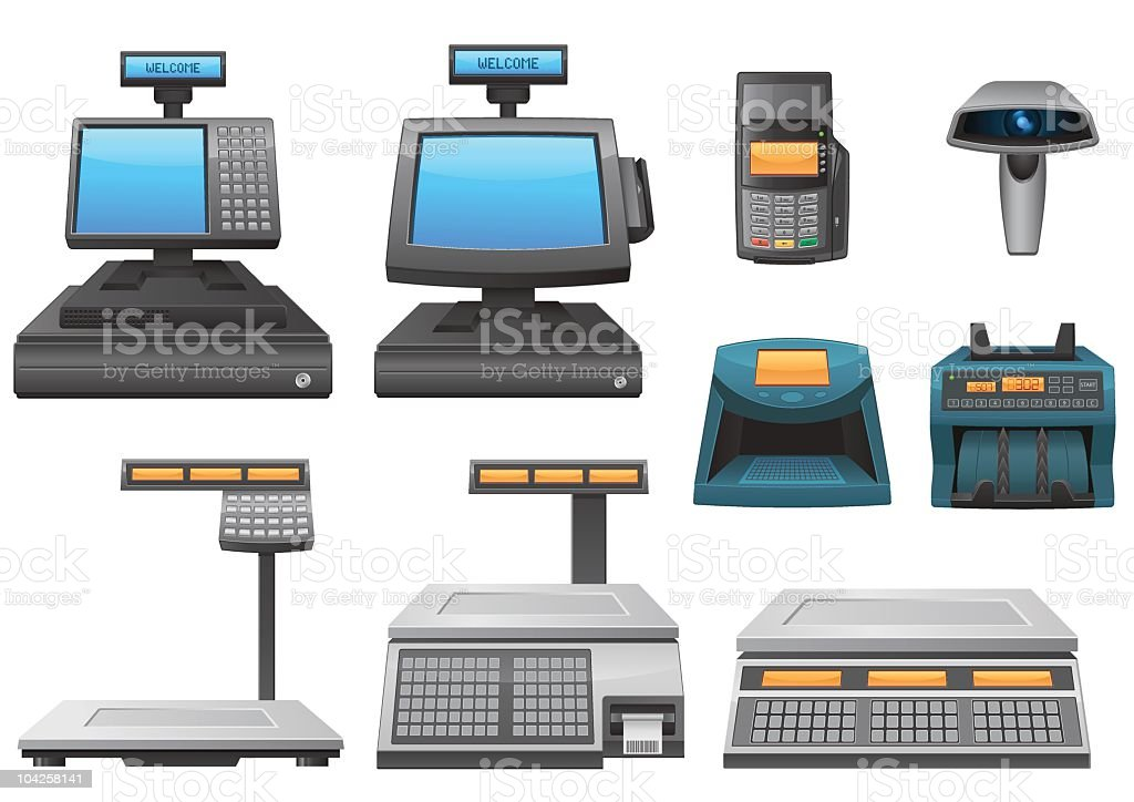 Set of retail equipment detailed icons vector art illustration