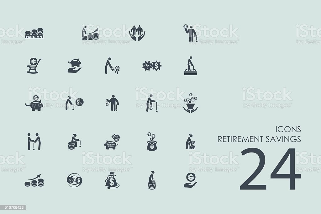 Set of retirement savings icons vector art illustration