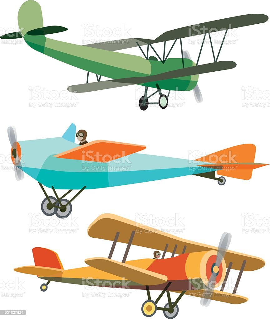 Set of Retro Airplanes vector art illustration