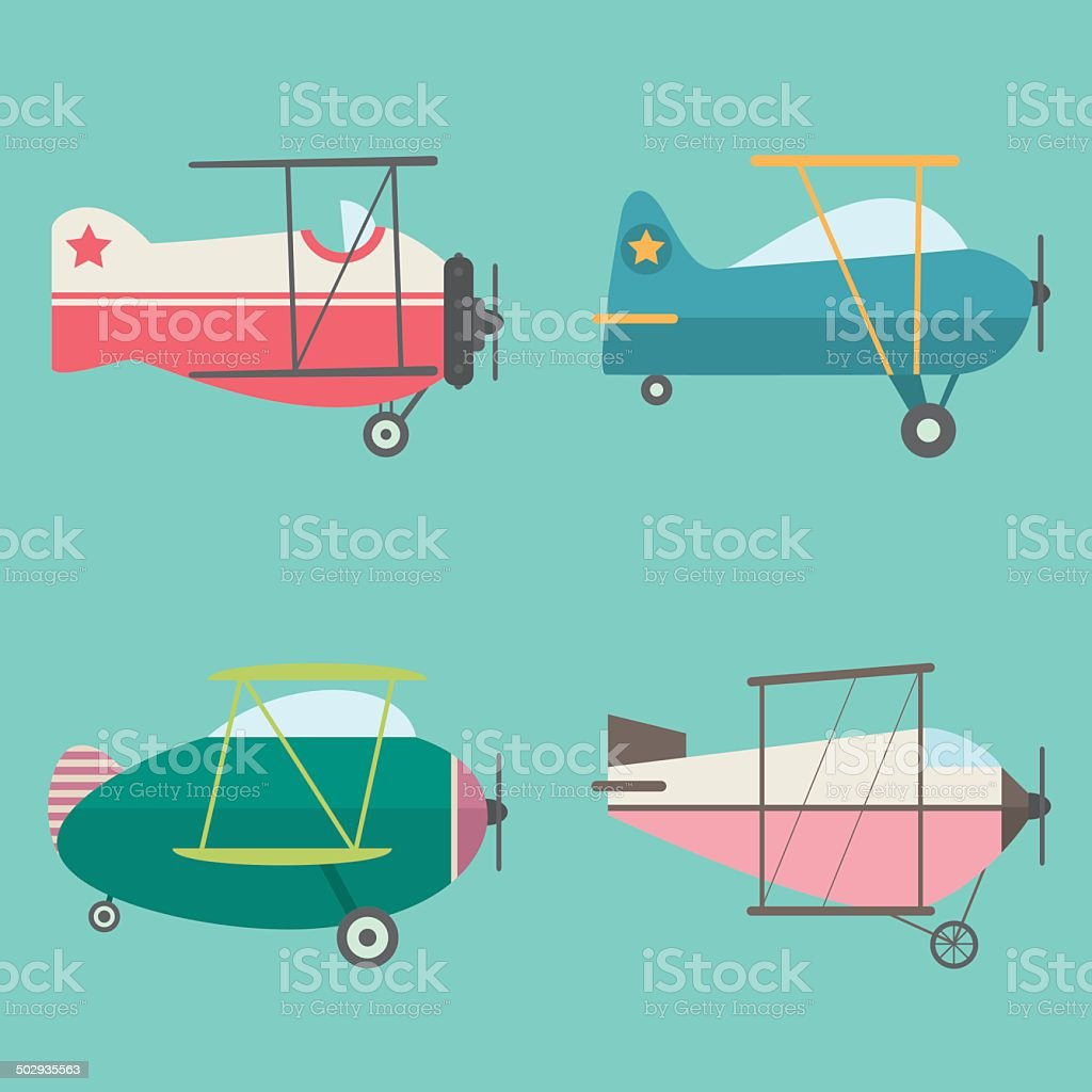 Set of Retro Airplanes royalty-free stock vector art