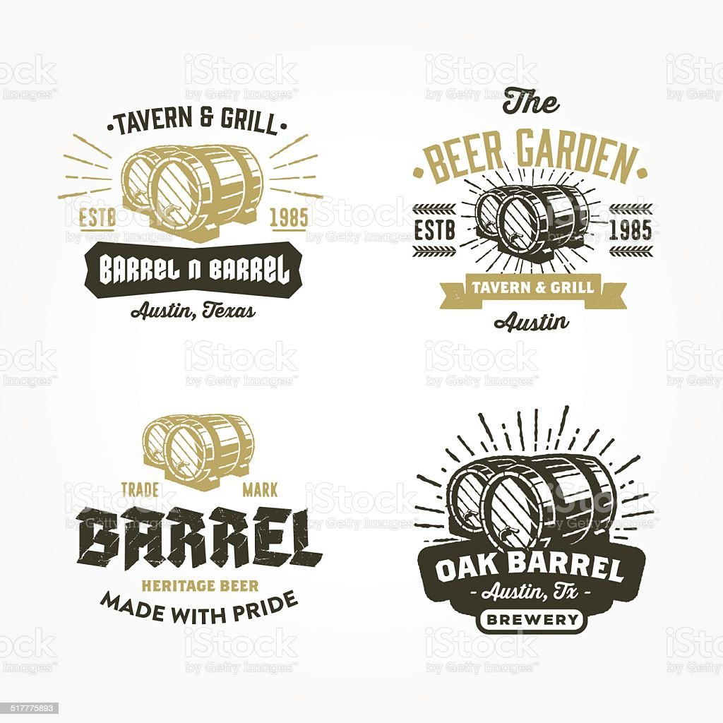 Set of retro badge logo designs with wodden barrels vector art illustration