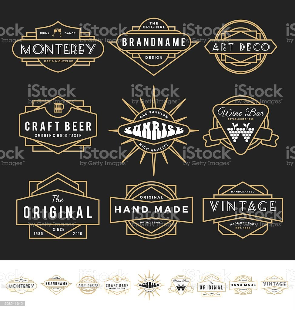 Set of retro badge logo for vintage product and business vector art illustration