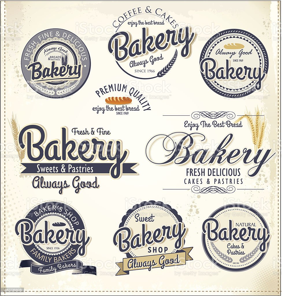 Set of retro bakery badges and labels vector art illustration
