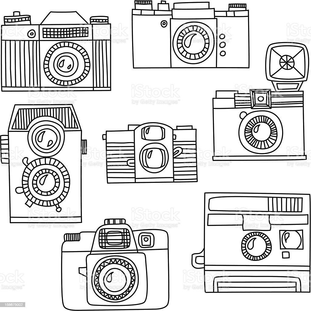 Set of retro cameras royalty-free stock vector art