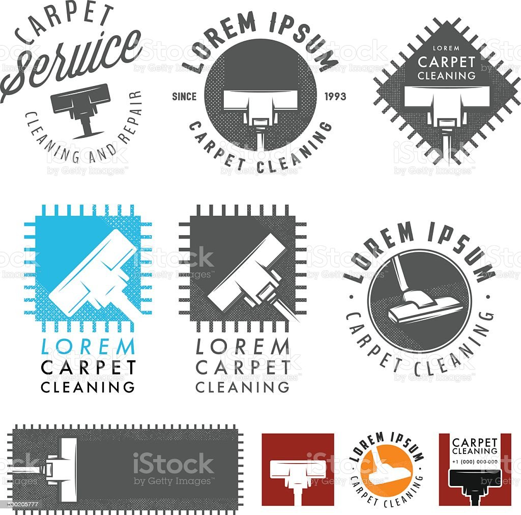 Set of retro carpet cleaning labels, emblems and design elements vector art illustration