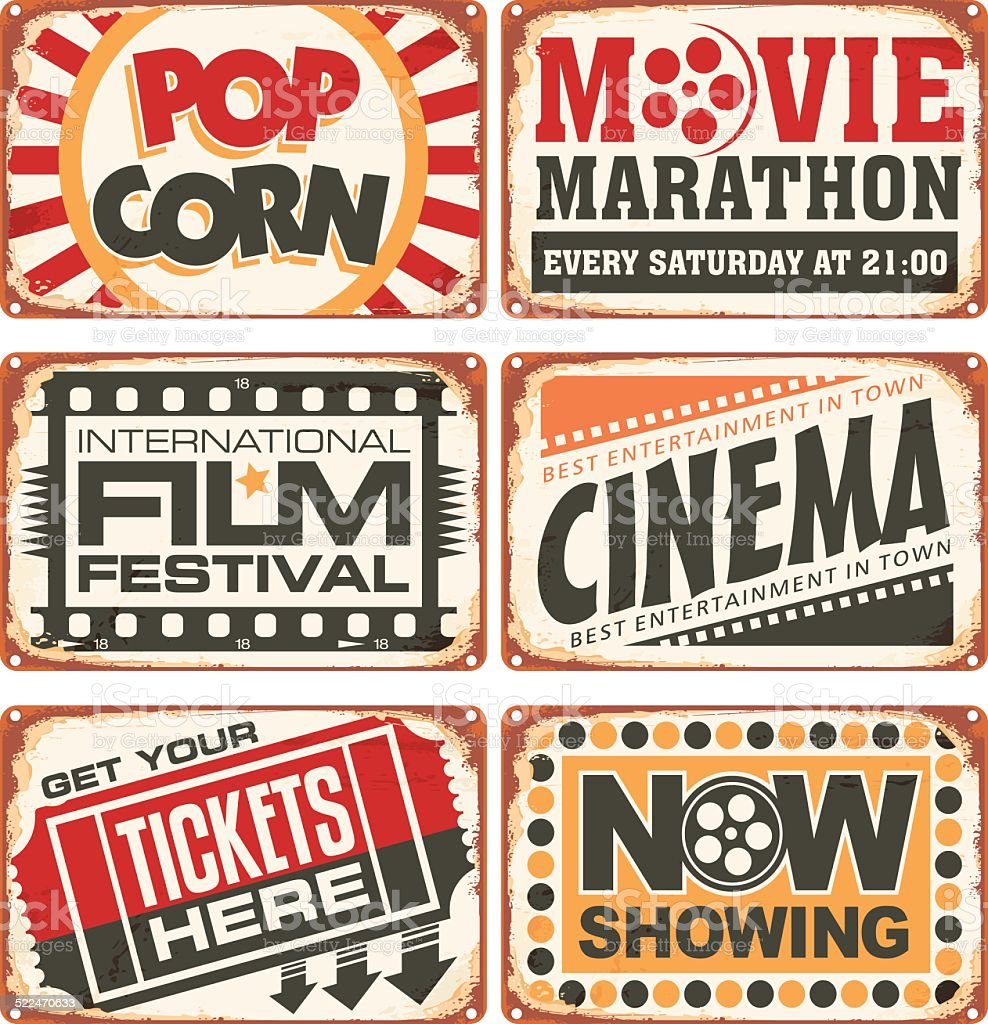 Set of retro cinema tin signs vector art illustration