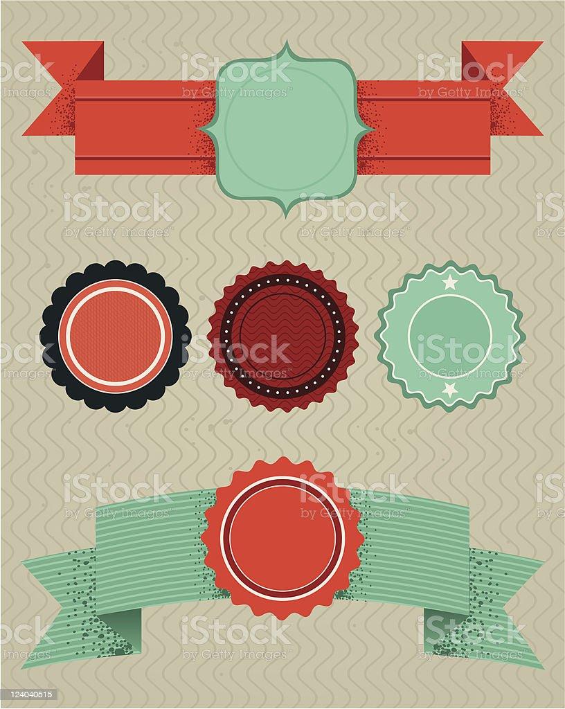set of retro design elements royalty-free stock vector art