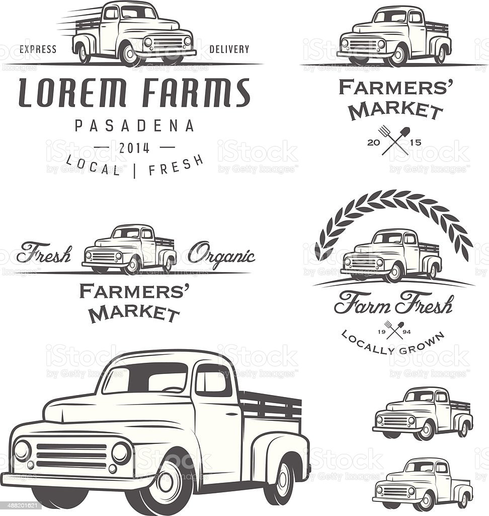 Set of retro farming labels, badges and design elements vector art illustration